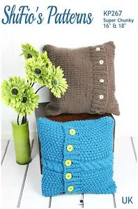 Knitting Pattern for Chunky Cushion Cover, Remote Control Holder KP267