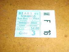 1964 Chicago Bears v Minnesota Vikings Football Ticket 12/13 Tarkenton TD
