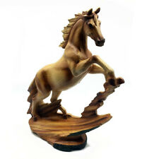 Wood Effect Horse Standing Statue Ornament Figurine