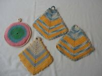 Pot Holders Vintage Kitchenware Linens Hand Made 4 Crochet Hot Pads