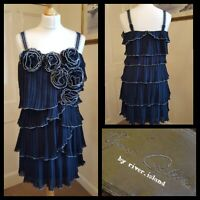 River Island Your Couture Blue Mini Dress  Pleated Tiered Flapper Gatsby Size 12
