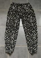 River Island Black Cuffed Pattern Casual Harem Style Summer Trousers 12R Elastic