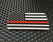 "THIN RED LINE Domed Decal Proud USA Firefighter Flag Emblem Sticker 3D 3.1""x 2"""