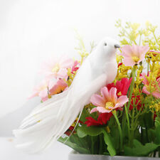 12PCS Artificial White Pigeon Bird Clip on Feather Christmas Party Ornaments