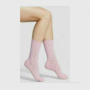 Hue Women White Polka Dot 3-Pair Jeans Socks Pink One Size 11210