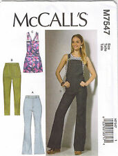 Overalls Rompers Flared Skinny Jeans Pants Misses Sewing Pattern 6 8 10 12 14