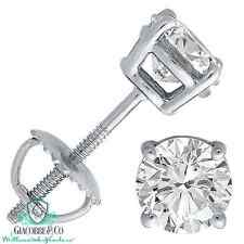 18K WHITE GOLD 1 cttw SOLITAIRE VS2-SI1 G-H DIAMOND STUD BASKET-SET EARRINGS