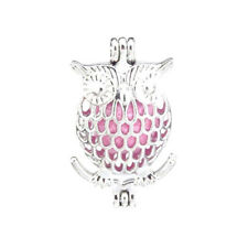 5pcs/lot Bright Silver Owl Locket Pendant Pearl Cage Beads Floating L17
