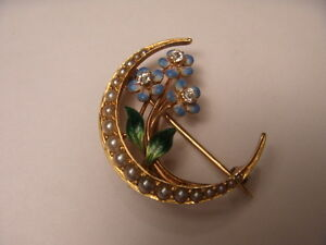 Antique Victorian 14K Yellow Gold Moon Seed Pearl Enamel Diamond Brooch Pin