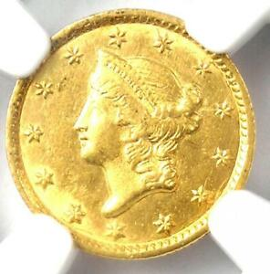 1853-C Liberty Gold Dollar G$1. NGC Uncirculated Detail - Rare MS Charlotte Coin