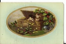 kitten themed postcard birthdat greetings with holly dated 1910
