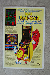 Baby Pacman Arcade flyer promotional poster