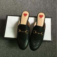 New Womens Real Leather Backless Loafer Slipper Mule Slide  Princetown Shoes