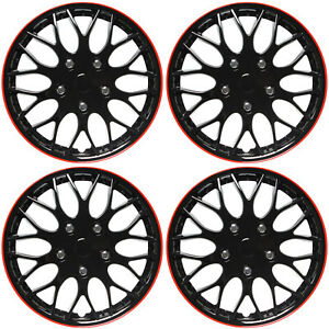 "4PC Set Hub Cap ICE BLACK / RED TRIM 14"" Inch for Rim Wheel Cover Caps Covers"