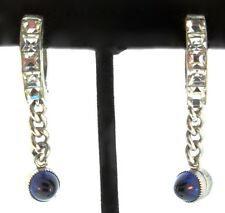 ART DECO Invisible Set Wedding Band Pinch EARRINGS With Bullet Cabochon Dangles
