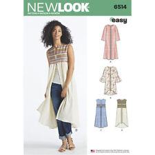 New Look Sewing Pattern 6514 SZ 6-24 Misses Easy Coat or Vest Sleeve Length Var