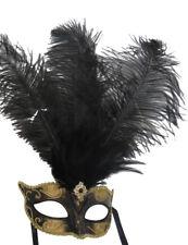 BLACK & GOLD FEATHER MASK VENETIAN CARNIVAL MASQUERADE BALL EYE PARTY MASK