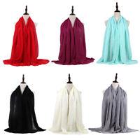 1X(Sciarpa Testa Musulmana Di Cotone e Lino Donna Hijab Ladies Semplice Sci Z5H8