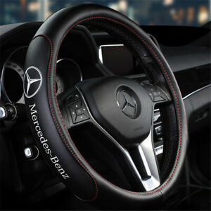 """15"""" Car Steering Wheel Cover Genuine Leather For Mercedes-Benz New"""