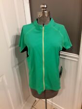 NWT😊Cannondale Women's Full Zip Green/Black Cycling Jersey Shirt sz L FAST SHIP