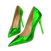 Women's High Stilettos Heel Patent Leather Pumps Slip On Pointy Toe Court Shoes