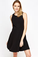 New Womens Lace Back Skater X120 Black Dress S/M UK (8-10)