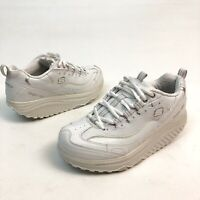 @@ Skechers Womens Work Shape Ups White Leather Slip Resistant Shoes Sz 7 Eu37