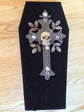 Black Velvet Coffin Box Skeleton Wedding Couple Halloween