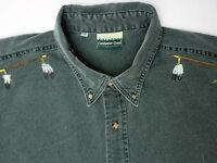 Coldwater Creek Vintage Men's Shirt Size XXL Green Denim Indian-Fox Print Shirt