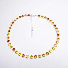 Damen Halskette Collier Tennis 925 Silber Versilbert Swarovski Kristalle Gelb