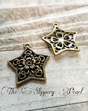Bronze Star Charms Pendants Filigree Jewelry Making Charms Lot Celestial 10pcs