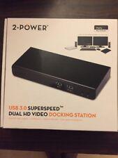 2-Power USB 3.0 Dual HD Display Docking Station
