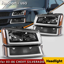 BLACK HOUSING FOR 2003-2006 CHEVY SILVERADO AMBER HEADLIGHT/LAMP W/LED DRL