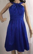 David's Bridal Dress Size 4 Royal Blue Twist Halter Short Wedding Party Gown
