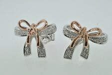 9ct white & rose gold diamond bow stud earrings NEW
