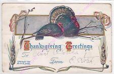 CPA GAUFREE EMBOSSED Thanksgiving greetings turkey dinde ca1910