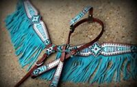 WESTERN HORSE BLING! LEATHER TACK SET BRIDLE HEADSTALL + BREAST COLLAR W/ FRINGE