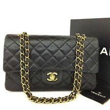 CHANEL Double Flap 25 Quilted CC Logo Lambskin w/Chain Shoulder Bag Black/20115