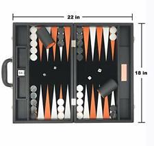 "Backgammon Set-premium Large 18"" Classic Board Game Travel Brown Vinyl Case USA"