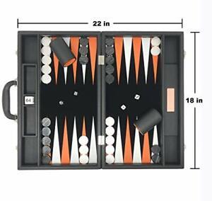 "Backgammon Set-Premium Large 18"" Classic Board Game Travel Jet Black"