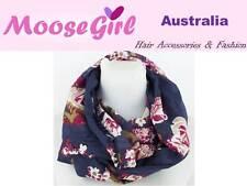 Large Flowers Blue Chiffon Infinity Scarf Women Ladies Double Loop Scarves Wrap