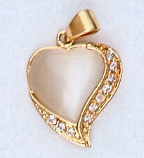 Moonstone Heart Pendant 24k Yellow Gold Plated w/ Clear Simulated-Diamond trim