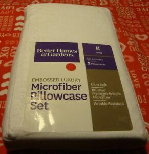 Better Homes & Gardens Arctic White Embossed Luxury MICROFIBER 2 Pillowcases 360