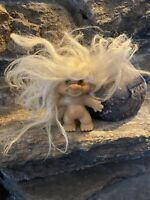 Vintage 1960s DAM Troll Doll White Mohair With New Glass Amber Eyes 2 3/4""