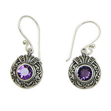 Sterling Silver and Amethyst Dangle Earrings 'Lilac Ladybug' Novica Bali