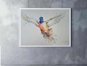 Large new Elle Smith original signed watercolour art painting of a Pheasant Bird