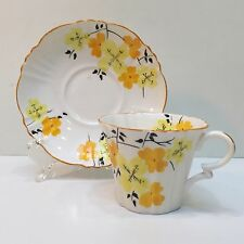 Royal Albert Teacup & Saucer, Crown China England Orange & Yellow Flowers, Used