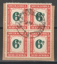 SOUTH AFRICA 1950 POSTAGE DUE 6D BLOCK USED ON PIECE