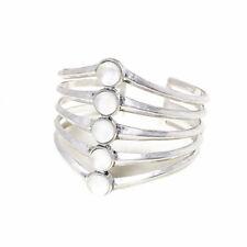Lucky Brand Antiqued Silver Tone Multi Row Stone Cuff Bracelet