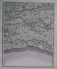 SURREY SUSSEX ARUNDEL BRIGHTON GODALMING BY JOHN CARY GENUINE ANTIQUE MAP  c1824